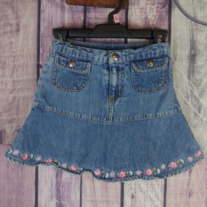 girls carters jean denim floral skirt size 4 N29